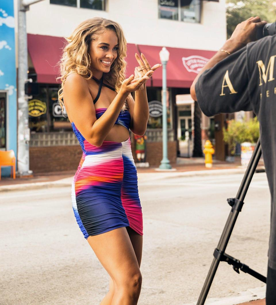 """<p>Model Jasmine Sanders shoots a music video for BACARDI's """"Conga Feat. You"""" campaign in Miami, Florida. </p>"""