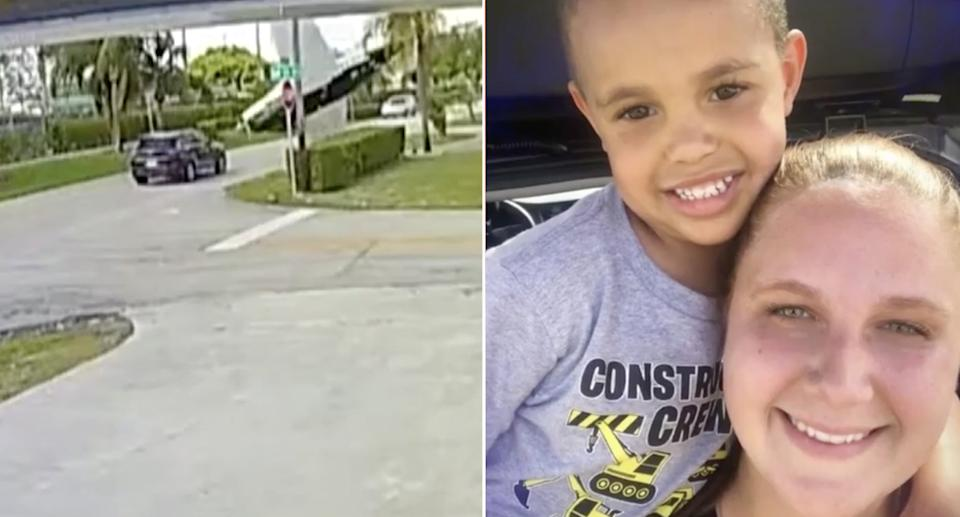 Megan Bishop, 35, was driving with her son, Taylor, are seen right. Left is a still of the video footage of the crash.