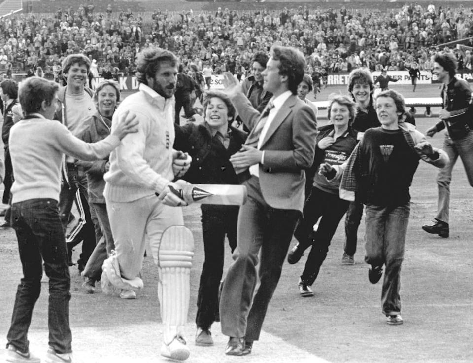 Botham leaves the field at Headingley after his 149 not out against Australia in 1981.