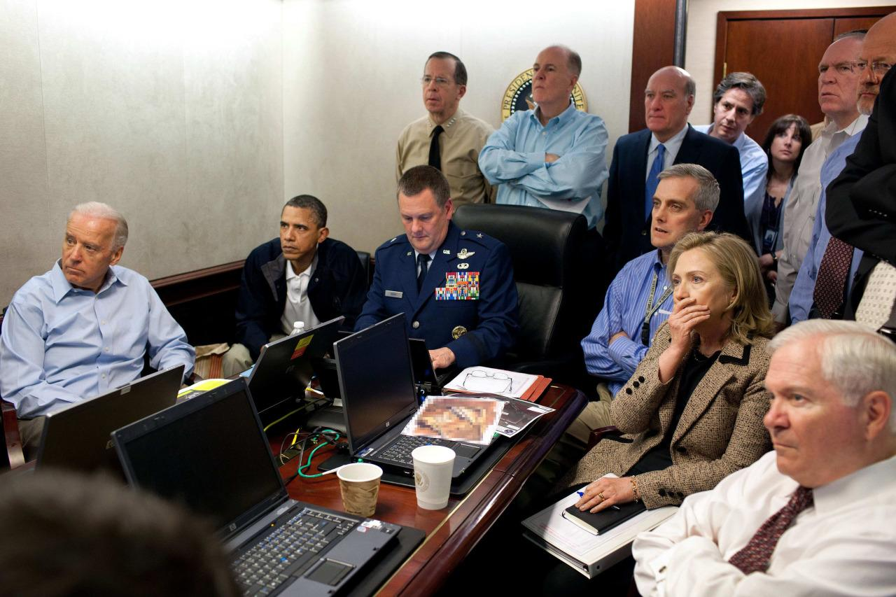 <p>Secretary of State Hillary Clinton in the Situation Room of the White House with, from left, Vice President Joe Biden and President Barack Obama, members of the national security team and Secretary of Defense Robert Gates, right, as they watch an update on the raid on Osama bin Laden's compound in Abbottabad, Pakistan, on May 1, 2011. (Photo: The White House, Pete Souza/AP)</p>