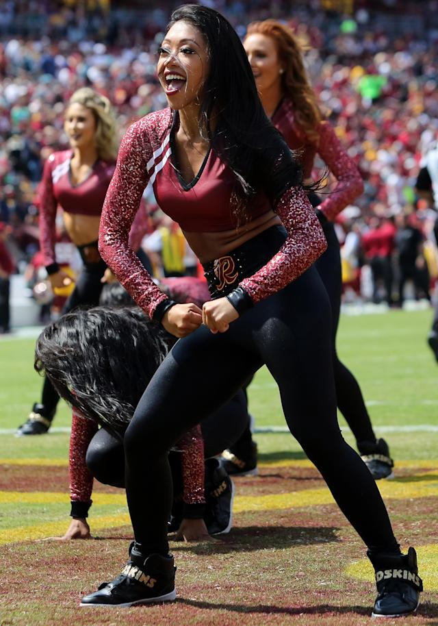 <p>Washington Redskins cheerleaders in action during a match between the Washington Redskins and the Philadelphia Eagles on September 10, 2017, at FedExField in Landover, Maryland. (Photo by Daniel Kucin Jr./Icon Sportswire via Getty Images) </p>