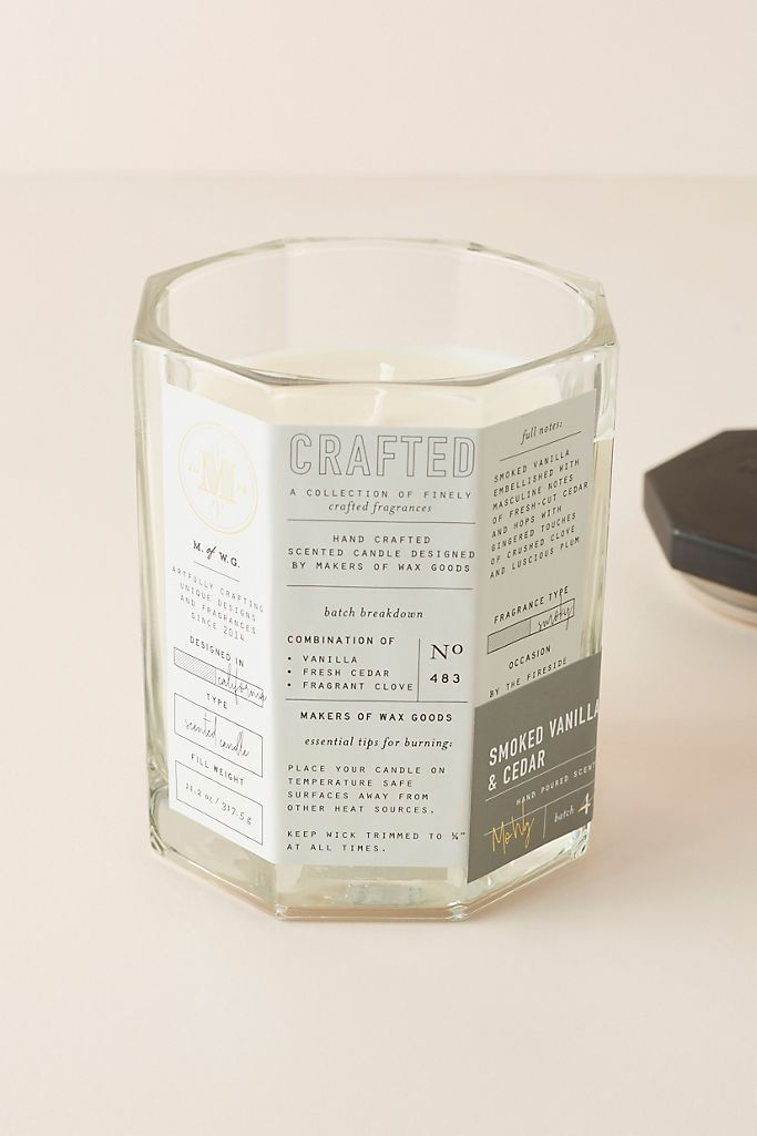 """<h3>Makers of Wax Goods Smoked Vanilla & Cedar Candle </h3><br>This woodsy scented candle is a smokey aroma of tobacco leaf embellished with ginger, crushed clove, plum, and warm vanilla amber topped with fresh-cut cedar and hops.<br><br><strong>Makers of Wax Goods</strong> Smoked Vanilla & Cedar Glass Candle, $, available at <a href=""""https://go.skimresources.com/?id=30283X879131&url=https%3A%2F%2Fwww.anthropologie.com%2Fshop%2Fmakers-of-wax-goods-autumnal-crafted-glass-candle"""" rel=""""nofollow noopener"""" target=""""_blank"""" data-ylk=""""slk:Anthropologie"""" class=""""link rapid-noclick-resp"""">Anthropologie</a>"""