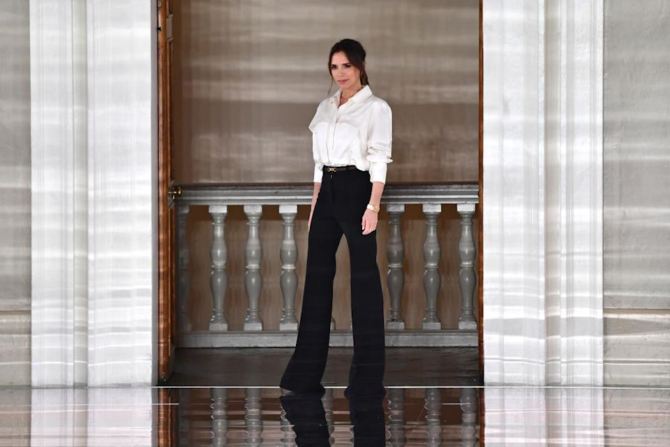 Victoria Beckham has shown off her WFH wardrobe and it is a bit unexpected, pictured at LFW Feb 2020. (Getty Images)