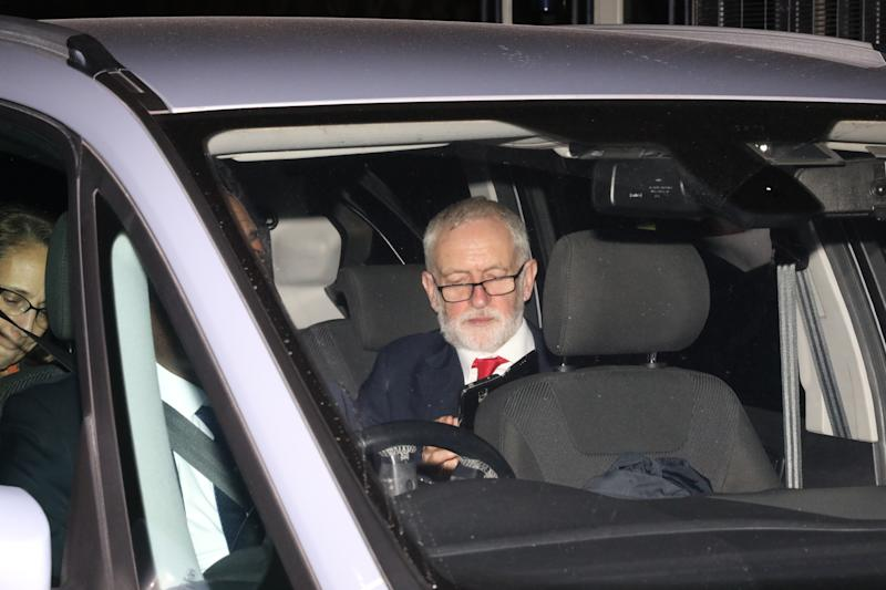 Labour leader Jeremy Corbyn leaving the House of Commons, London, after MPs voted by 438 to 20 to back a Bill enabling the election to take place on December 12. (Photo by Rick Findler/PA Images via Getty Images)
