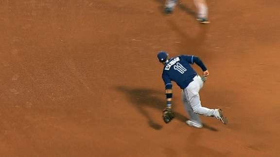 Yunel Escobar and Ben Zobrist team up for spectacular double play
