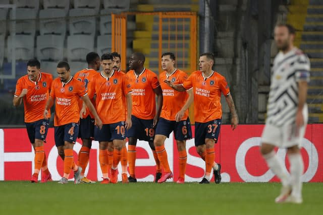 Istanbul Basaksehir's Demba Ba celebrates after scoring his side's opener against United