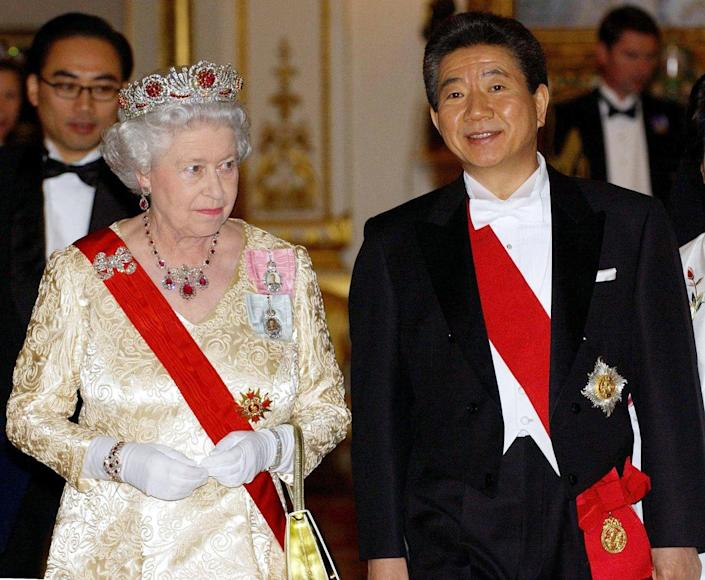 <p>At the beginning of Queen Elizabeth's reign, the Queen Mother still had many of the jewels in her own collection, so Queen Elizabeth II created the Baring Ruby Necklace in 1964, out of other gems in the Royal family's vault. Here, she is wearing it with her Burmese ruby tiara. </p>