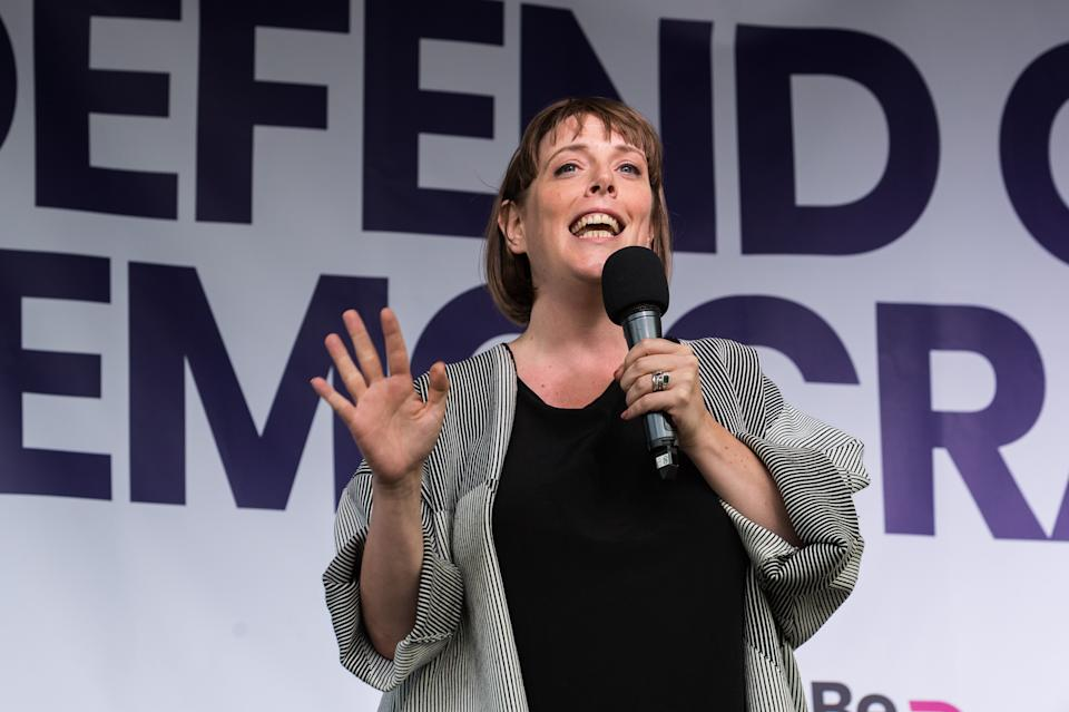 LONDON, UNITED KINGDOM - SEPTEMBER 04: Labour Party MP Jess Phillips speaks to thousands of pro-EU demonstrators gathered for a cross-party rally in Parliament Square, organised by the People's Vote Campaign on 04 September, 2019 in London, England, to protest against Boris Johnson's Brexit strategy which involves leaving the EU on 31 October 2019 with or without an exit deal. (Photo credit should read Wiktor Szymanowicz / Barcroft Media via Getty Images)