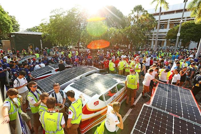 The World Solar Challenge, first run in 1987 and last held in 2015, began in a high-tech, futuristic flurry from Darwin's State Square. (AFP Photo/Scott Barbour)