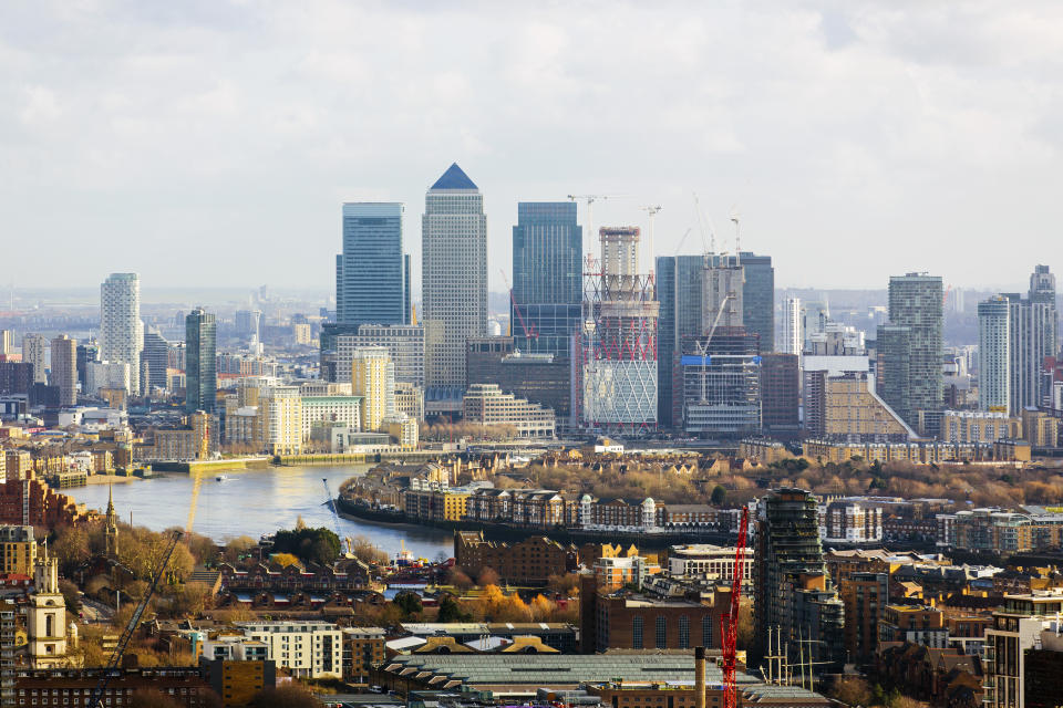 London skyline with modern skyscrapers of Canary Wharf business and financial district, England, UK. Photo: Getty