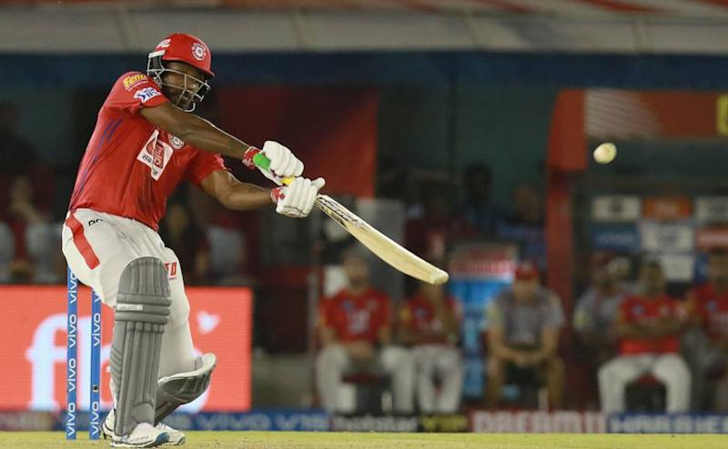 Chris Gayle of KXIP plays a shot during match 28 of the Vivo Indian Premier League Season 12, 2019 between the Kings XI Punjab and the Royal Challengers Bangalore held at the IS Bindra Stadium, Mohali on the 13th April 2019 Photo by: Rahul Gulati /SPORTZPICS for BCCI
