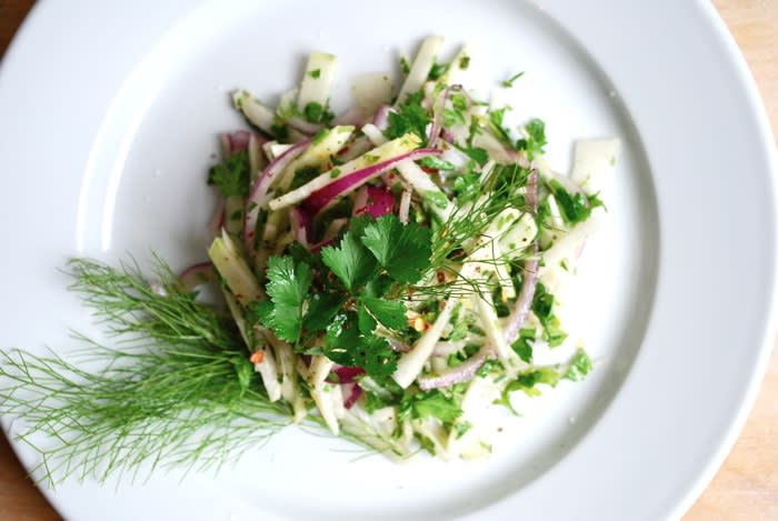 """<div class=""""caption-credit""""> Photo by: Brooklyn Supper</div><b>Fennel and Kohlrabi Salad</b> <br> Unique ingredients like fennel or kohlrabi can lend surprising crunch and texture to ordinary winter dishes. Fennel has a subtle licorice flavor with a crisp, celery-like texture. And kohlrabi is crunchy and just a little sweet, lying somewhere between jicama and potato. Paired up with parsley and red onion, these seasonal ingredients make for a unique and refreshing winter salad. <br> <a href=""""http://www.babble.com/best-recipes/healthy-holiday-15-eye-catching-salad-recipes/#fennel-and-kohlrabi-salad"""" rel=""""nofollow noopener"""" target=""""_blank"""" data-ylk=""""slk:Get the recipe"""" class=""""link rapid-noclick-resp""""><i>Get the recipe</i></a> <br>"""