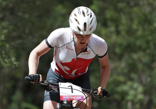 Cycling Cross-Country - Gold Coast 2018 Commonwealth Games - Mountain Bike - Women's Cross-Country - Nerang Mountain Bike Trails - Gold Coast, Australia - April 12, 2018. Annie Last of England. REUTERS/Paul Childs