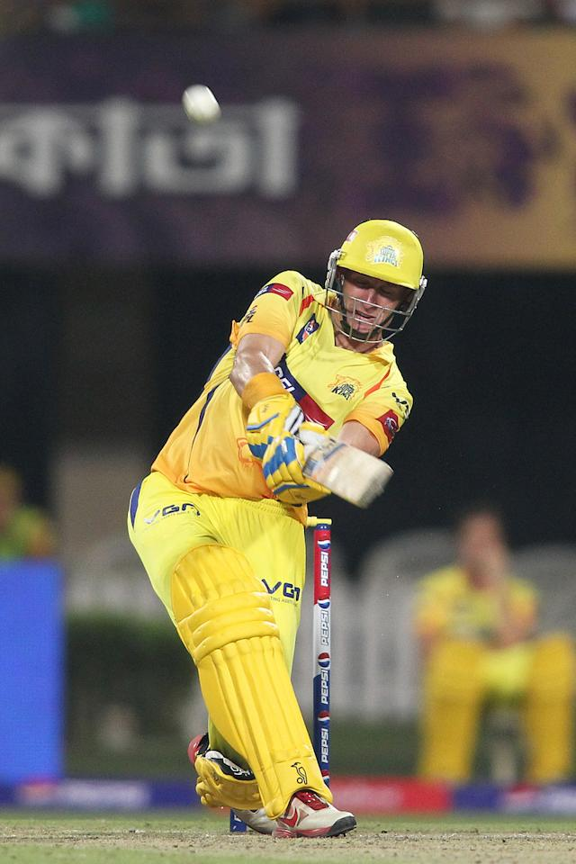 Michael Hussey of Chennai Super Kings hits over the top for six during match 26 of the Pepsi Indian Premier League between The Kolkata Knight Riders and the Chennai Superkings held at the Eden Gardens Stadium in Kolkata on the 20th April 2013..Photo by Shaun Roy-IPL-SPORTZPICS  ..Use of this image is subject to the terms and conditions as outlined by the BCCI. These terms can be found by following this link:..https://ec.yimg.com/ec?url=http%3a%2f%2fwww.sportzpics.co.za%2fimage%2fI0000SoRagM2cIEc&t=1495607599&sig=mmFxNTf6wfZ0tqTnF9psHA--~C