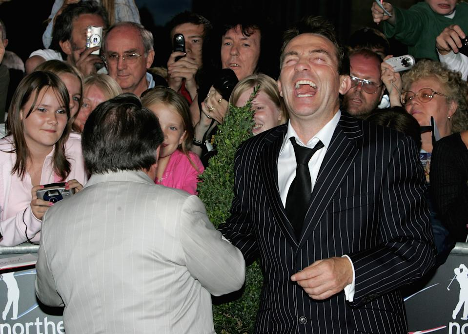 NEWPORT, UNITED KINGDOM - AUGUST 26: Ronnie Corbett and Bradley Walsh arrive at the Gala Dinner on the first day of the Northern Rock All Star Cup at the Celtic Manor Resort on August 26, 2006 in Newport, Wales. (Photo by Chris Jackson/Getty Images)