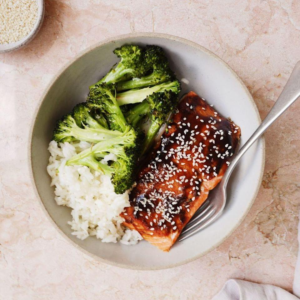 """<p>Dinner bowl game strong.</p><p>Get the <a href=""""https://www.delish.com/uk/cooking/recipes/a33319697/hoisin-glazed-salmon-with-broccoli-and-sesame-rice-recipe/"""" rel=""""nofollow noopener"""" target=""""_blank"""" data-ylk=""""slk:Hoisin-Glazed Salmon with Broccoli and Sesame Rice"""" class=""""link rapid-noclick-resp"""">Hoisin-Glazed Salmon with Broccoli and Sesame Rice</a> recipe.</p>"""