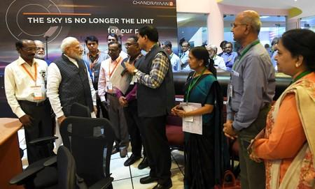 India's Prime Minister Narendra Modi interacts with the scientists of Indian Space Research Organisation (ISRO) at its headquarters in Bengaluru
