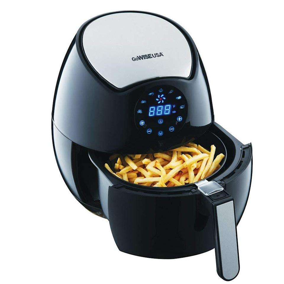 """<h3><h2>GoWISE 7-in-1 Air Fryer </h2></h3><br><strong>Under $100</strong><br>Your dad mastered the art of grilling a long time ago, sure — but does he know about <em>air frying</em>? This much-hyped cooking device will satisfy not only his new """"healthy"""" lifestyle — he's down to just one bowl of ice cream after dinner — but also his love of tinkering with things. We got a hot tip from a co-worker that it does wonders for Trader Joe's cauliflower.<br><br><em>Shop GoWISE on <strong><a href=""""https://amzn.to/3g06pcM"""" rel=""""nofollow noopener"""" target=""""_blank"""" data-ylk=""""slk:Amazon"""" class=""""link rapid-noclick-resp"""">Amazon</a></strong></em><br><br><strong>GoWISE</strong> 7-in-1 Programmable Air Fryer, $, available at <a href=""""https://amzn.to/3cgPIoa"""" rel=""""nofollow noopener"""" target=""""_blank"""" data-ylk=""""slk:Amazon"""" class=""""link rapid-noclick-resp"""">Amazon</a>"""