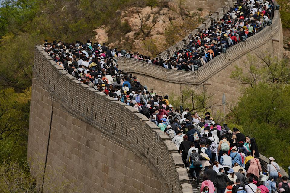 People visit the Great Wall during the labour day holiday in Beijing on May 1, 2021. (Photo by Noel Celis / AFP) (Photo by NOEL CELIS/AFP via Getty Images)