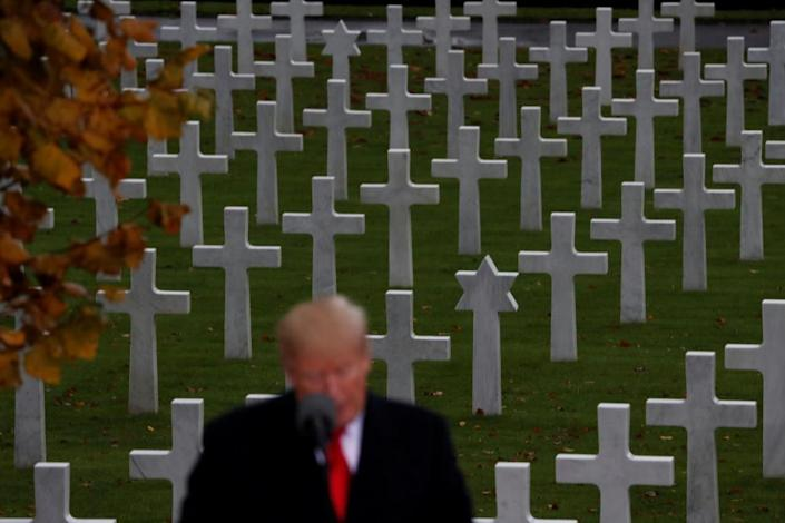 Trump speaks as he takes part in the commemoration ceremony for Armistice Day at the Suresnes American Cemetery and Memorial in Paris, France, on 11 November 2018.