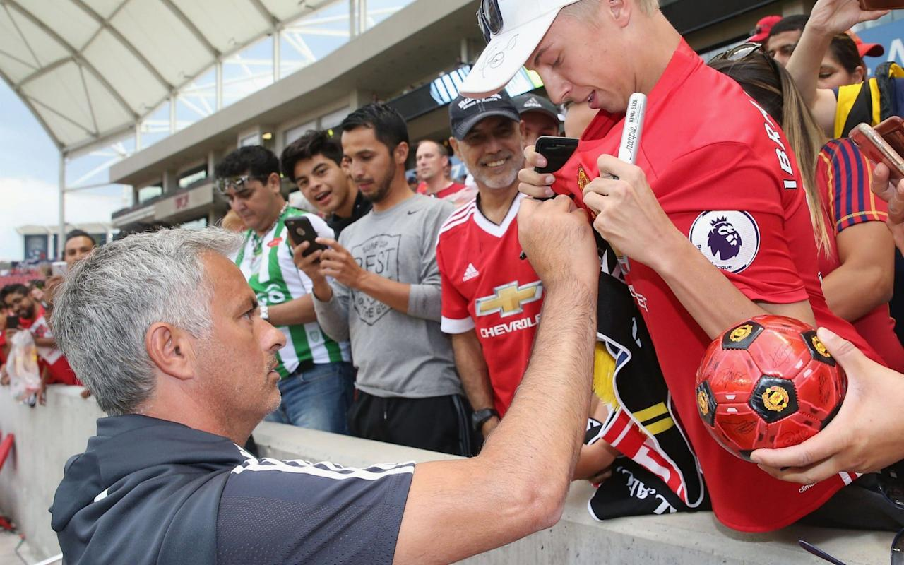 """Jose Mourinho has revealed he will put pressure on Manchester United to stage future tours in America over Asia. United's pre-season tour in China descended into farce last summer with their scheduled derby against Manchester City in Beijing having to be cancelled due to a shambolic pitch at the Bird's Nest. The training conditions were also poor while United ran into a number of other logistical problems. The contrast with this summer's tour in the US could not be starker, with Mourinho lauding the quality of the facilities and organisation in the country. The UCLA campus in Los Angeles, which United are using as a base, has long been a favourite of Mourinho, who took his Chelsea, Inter Milan and Real Madrid teams there in the past. Nico Rosberg poses with United players Credit: GETTY IMAGES And as Mourinho looked ahead to a derby against City at Houston's NRG Stadium in the early hours on Friday, the United manager said he would urge the club to return to the US after admitting Asia could not compete in logistical terms. """"The best, the best"""" Mourinho said, when asked for his thoughts on the facilities and conditions in America. """"I will try everything with my club to be back because with all the respect Asia is beautiful, commercially it's fantastic for the clubs, but the conditions to work are completely different. """"Here is about the facilities and organisation and everything is perfect so we are going to try to persuade the club and Relevent [organisers of the International Champions Cup] to bring us back again. The facilities in America are exceptional Credit: GETTY IMAGES """"It's nice forthe US and US fans [to have a derby here], it's very good for the event that deserves everything from us because of the phenomenal preparations. """"I think it's very good for both clubs and there is always a little bit of rivalry, a bit of an extra ingredient but for me it's a friendly, I'm not going to jump to celebrate a goal, or cry if we concede, it's preparation for me. The Eu"""