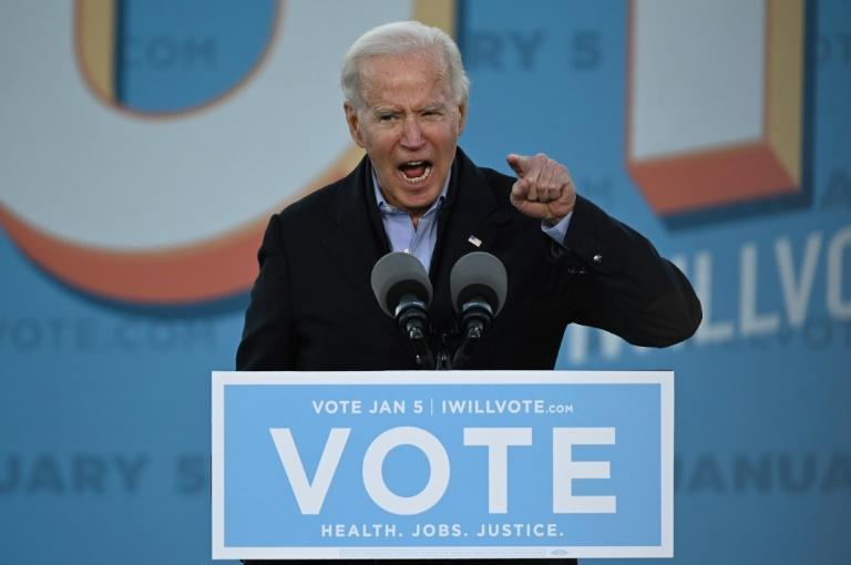 US President-elect Joe Biden campaigned in Georgia on January 4, 2021 for two Democrats challenging Republicans in elections that will determine which party controls the US Senate