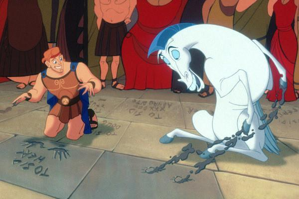 Hercules (voiced by Tate Donovan) putting his hands in cement with Pegasus.