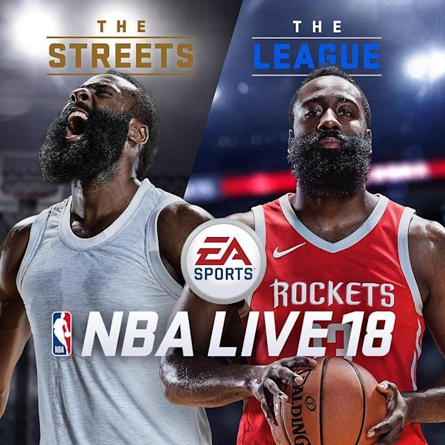 James Harden gets loud and stays quiet on the cover of 'NBA Live 18.' (EA Sports)