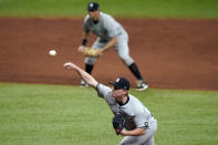 New York Yankees relief pitcher Nick Nelson delivers to the Tampa Bay Rays during the third inning of a baseball game Friday, April 9, 2021, in St. Petersburg, Fla. (AP Photo/Chris O'Meara)