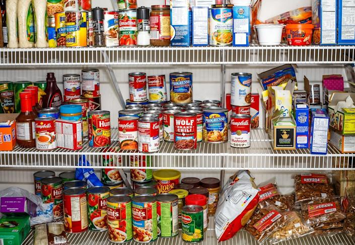 ATLANTA, GEORGIA - March 5, 2015: Photo of well stocked pantry ready for winter.
