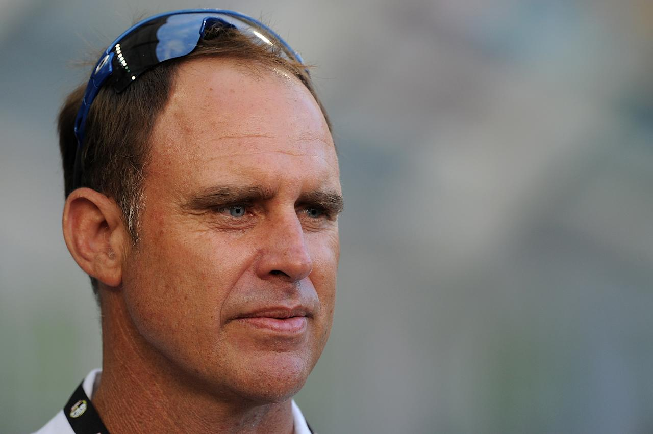 BRISBANE, AUSTRALIA - JANUARY 03:  Matthew Hayden looks on during the Big Bash League match between the Brisbane Heat and the Melbourne Stars at The Gabba on January 3, 2013 in Brisbane, Australia.  (Photo by Matt Roberts/Getty Images)