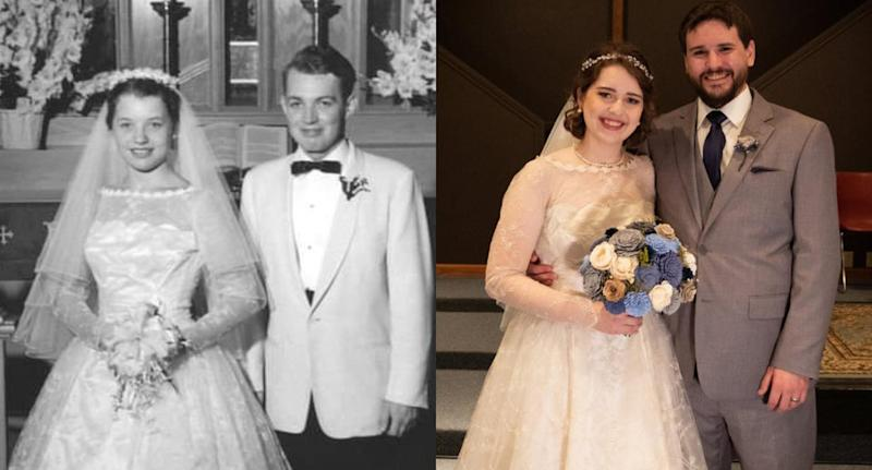 Christina Moffett wearing her grandmother's wedding gown from 1956. Image via Reddit.