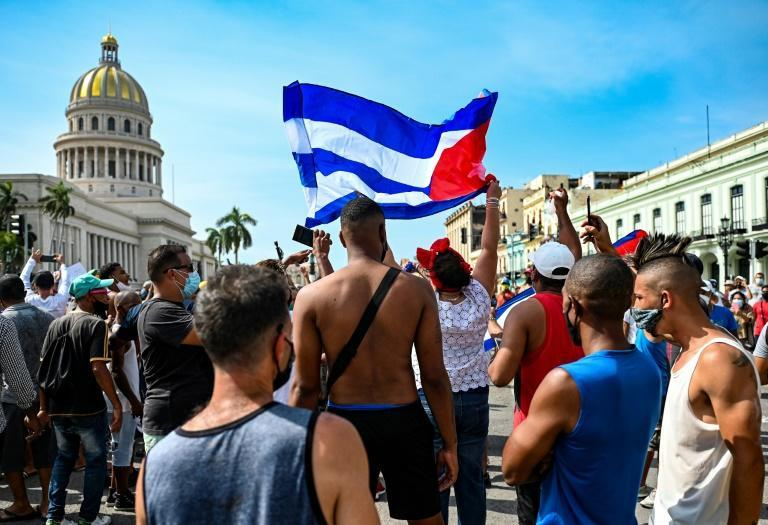 Cubans outside Havana's Capitol during a demonstration against the government of President Miguel Diaz-Canel