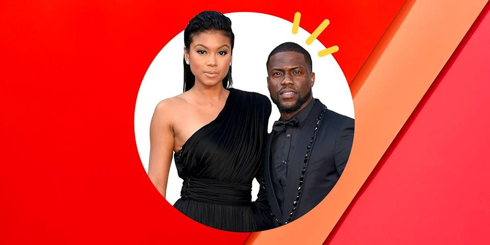 """<p>Eniko and Kevin Hart's marriage has been put to the test more than once. Nearly two years after Kevin <a href=""""https://www.instagram.com/p/r4B-3YKJZC/?modal=true"""" rel=""""nofollow noopener"""" target=""""_blank"""" data-ylk=""""slk:proposed"""" class=""""link rapid-noclick-resp"""">proposed</a>, the couple <a href=""""https://www.instagram.com/p/BXvdkwDjvNY/?hl=en"""" rel=""""nofollow noopener"""" target=""""_blank"""" data-ylk=""""slk:got married"""" class=""""link rapid-noclick-resp"""">got married</a> in a beautiful ceremony in Santa Barbara. Just one year after that, in 2017, the couple announced they were expecting their first child together (Kevin's third including his children from his previous marriage), a son named Kenzo. But when Eniko was eight months pregnant, she says she received a direct message on Instagram which included a video of Kevin cheating on her in Las Vegas. </p><p>The couple opened up about the experience in Kevin's 2019 Netflix documentary <em><a href=""""https://www.netflix.com/title/81010817"""" rel=""""nofollow noopener"""" target=""""_blank"""" data-ylk=""""slk:Kevin Hart: Don't F**k This Up"""" class=""""link rapid-noclick-resp"""">Kevin Hart: Don't F**k This Up</a>.</em> In it, the comedian describes the alleged 10-million-dollar extortion attempt orchestrated by his former friend who threatened to release the video. As a result, Kevin took to <a href=""""https://www.instagram.com/p/BZHqi5_n_Vu/?hl=en"""" rel=""""nofollow noopener"""" target=""""_blank"""" data-ylk=""""slk:Instagram himself"""" class=""""link rapid-noclick-resp"""">Instagram himself</a> and shared he'd made a """"bad error in judgement"""" apologized to Eniko and children. </p><p>""""It's the most difficult test ever,"""" Hart told <em><a href=""""https://people.com/movies/kevin-hart-reveals-wife-eniko-forgave-him-after-cheating-scandal/"""" rel=""""nofollow noopener"""" target=""""_blank"""" data-ylk=""""slk:People"""" class=""""link rapid-noclick-resp"""">People</a></em> in 2018 about the scandal. But, the couple stayed together, determined to work things out for each other and for their son. """"I wasn't ready at th"""