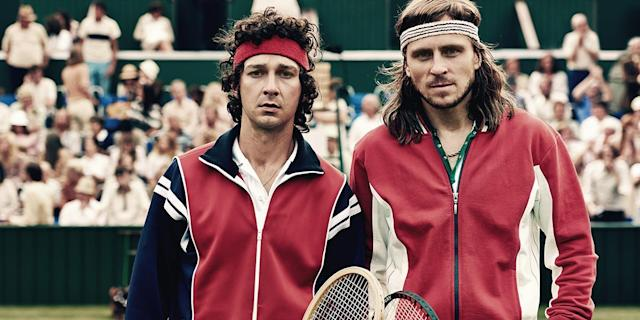 Shia LaBeouf and Sverrir Gudnason in <em>Borg/McEnroe</em> (Photo: TIFF)