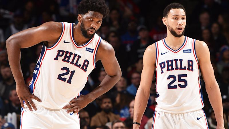 Joel Embiid and Ben Simmons, pictured here in action for the 76ers against the Toronto Raptors.