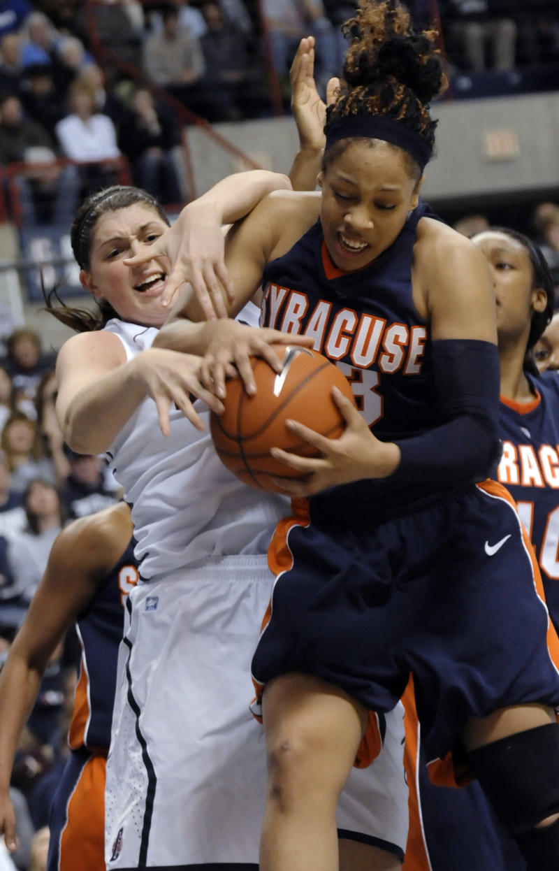 Syracuse's Iasia Hemingway and Connecticut's Stefanie Dolson vie for a rebound in the second half of an NCAA college basketball game in Storrs, Conn., Monday, Feb. 28, 2011. Connecticut defeated Syracuse 82-47. (AP Photo/Bob Child)