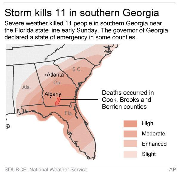 Map locates counties in southern Georgia where an early Sunday storm has hit causing deaths and injuries.; 2c x 3 1/2 inches; 96.3 mm x 88 mm;