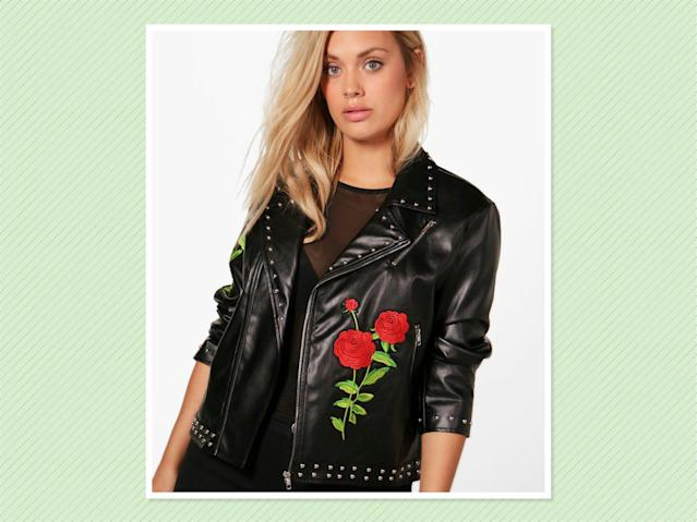 "<p>Plus Holly Embroidered Studded Biker Jacket, $48, <a href=""http://us.boohoo.com/plus-holly-embroidered-studded-biker-jacket/PZZ87664.html"" rel=""nofollow noopener"" target=""_blank"" data-ylk=""slk:Boohoo"" class=""link rapid-noclick-resp"">Boohoo</a> (Photo: Boohoo) </p>"