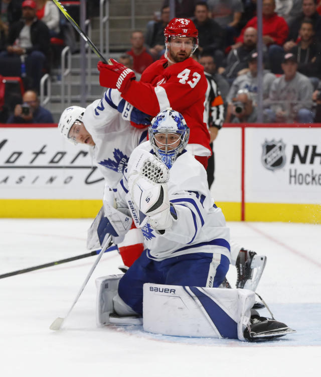 Toronto Maple Leafs goaltender Frederik Andersen (31) stops a Detroit Red Wings shot during the second period of an NHL hockey game Thursday, Oct. 11, 2018, in Detroit. (AP Photo/Paul Sancya)