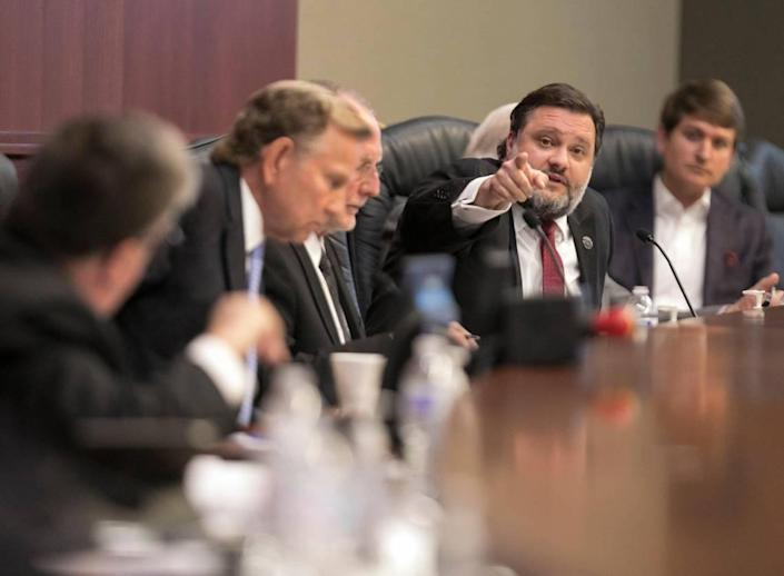 Councilman Dennis Disabato gets into a heated exchange with Chairman Gardner during Tuesday's special meeting. Horry County Council's vote on the termination of county administrator Chris Eldridge's contract failed on Tuesday. Mar 05, 2019.