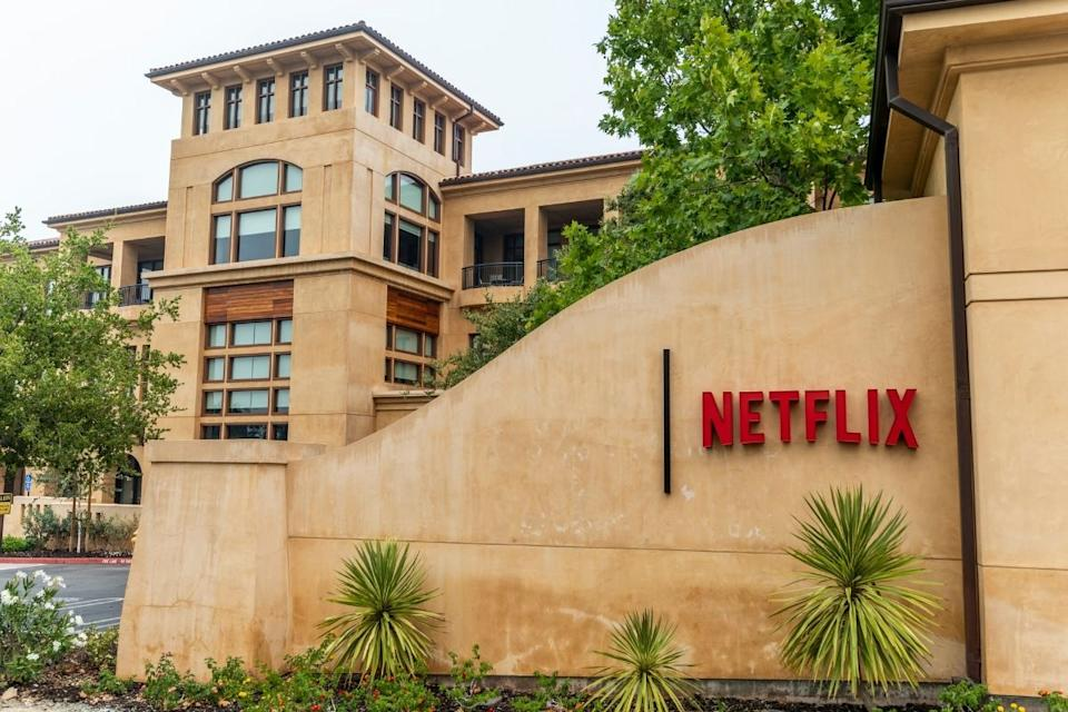 The entrance to the Netflix headquarters building in Los Gatos in California.