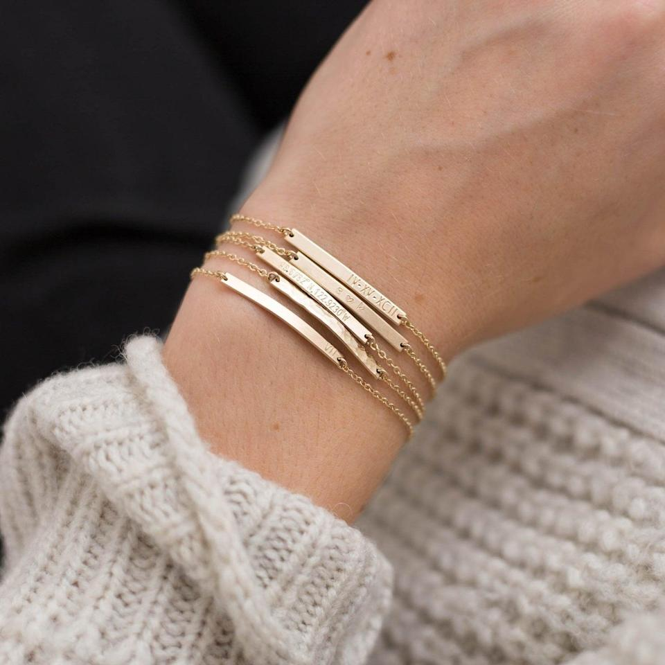 <p>This <span>Personalized Bar Bracelet</span> ($48) is such a great way to show mom you were thinking about her. You can have whatever you like engraved, which makes for an awesome, thoughtful gift.</p>