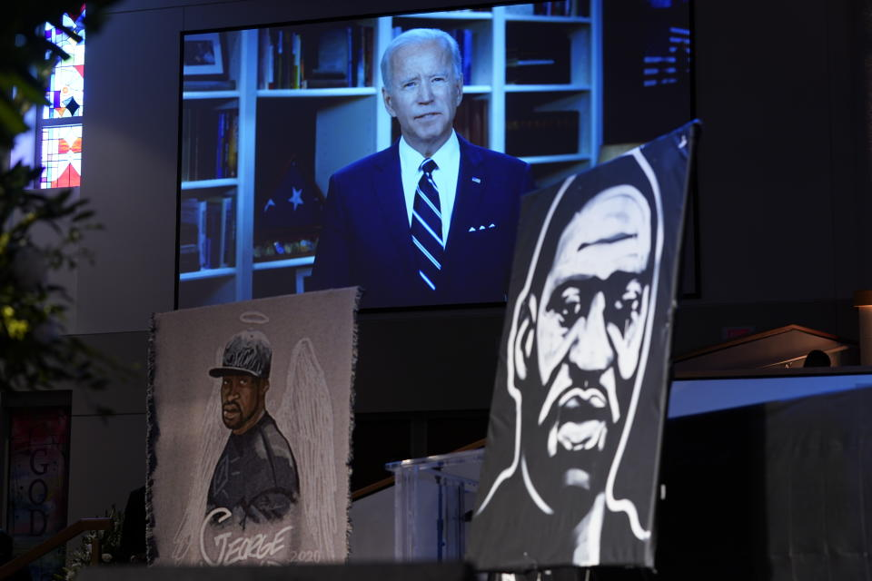Democratic presidential candidate, former Vice President Joe Biden speaks via video link as family and guests attend the funeral service for George Floyd at The Fountain of Praise church Tuesday, June 9, 2020, in Houston. (AP Photo/David J. Phillip, Pool)