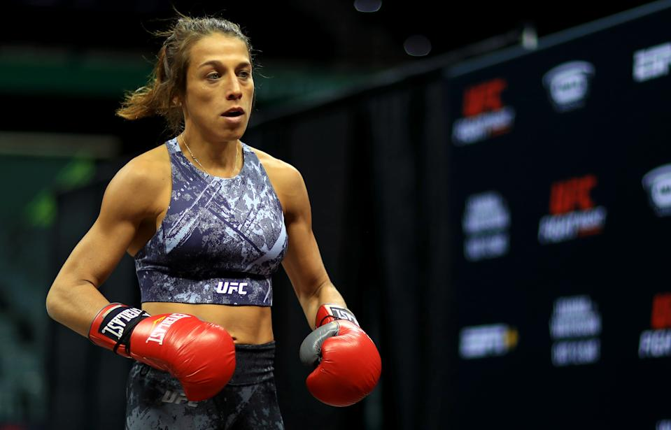 TAMPA, FLORIDA - OCTOBER 09: Joanna Jedrzejczyk works out ahead of a fight against Michelle Waterson  on October 12th at Yuengling Center on October 09, 2019 in Tampa, Florida. (Photo by Mike Ehrmann/Zuffa LLC/Zuffa LLC)