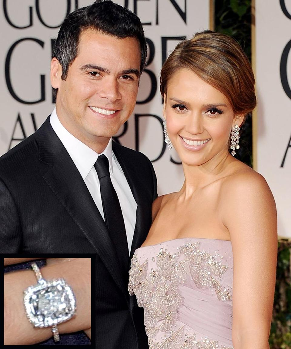 <p>Cash Warren and actress Jessica Alba got engaged in 2007 and were married the next year. Alba's engagement ring is a five-carat Asscher cut diamond surrounded by smaller diamonds.</p>