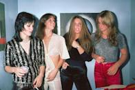 <p>The Runaways (L-R Joan Jett, Jackie Fox, Lita Ford, Sandy West) backstage at CBGB's in New York on August 2, 1976.</p>