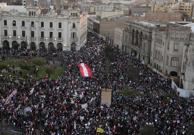 Demonstrators gather during protests following the impeachment of President Martin Vizcarra, in Lima