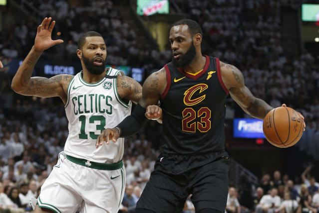 "<a class=""link rapid-noclick-resp"" href=""/nba/players/3704/"" data-ylk=""slk:LeBron James"">LeBron James</a>' kids asked him after his near-triple-double in Game 6 of the Eastern Conference Finals on Friday night how he keeps ""hitting crazy shots."" (AP Photo/Ron Schwane)"