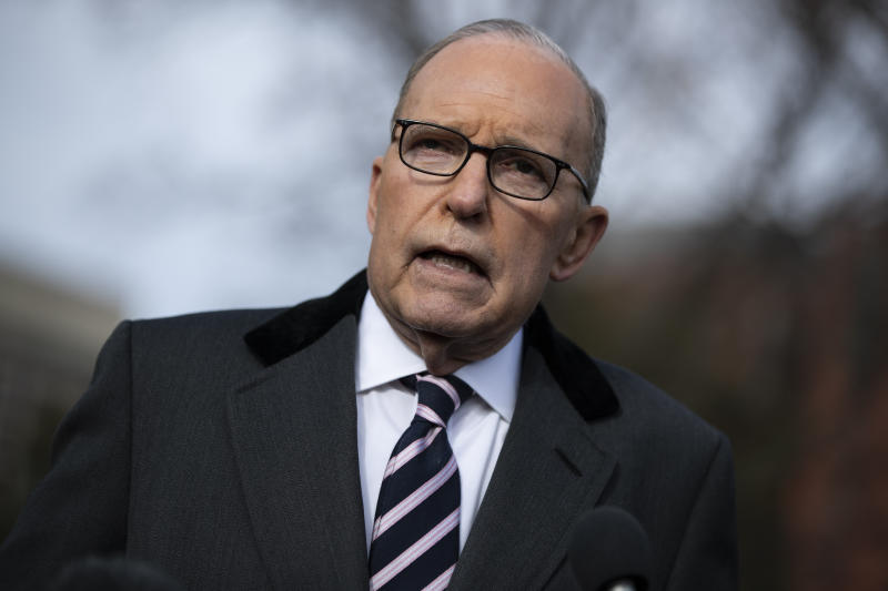 White House chief economic adviser Larry Kudlow talks with reporters outside the White House, Friday, Dec. 6, 2019, in Washington. (AP Photo/ Evan Vucci)